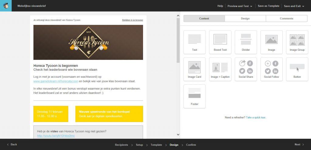 MailChimp: Een nieuwsbrief in opbouw.