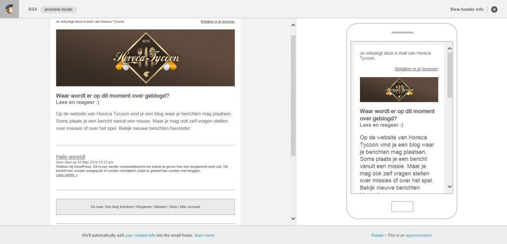 Een preview van de mailing met MailChimp.